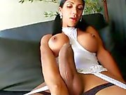 Brunette shemale with sexy dress play solo