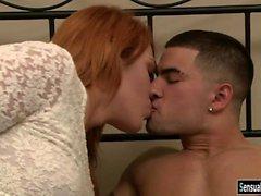 Kinky redhead tranny Aspen Brooks asshole slammed in bed