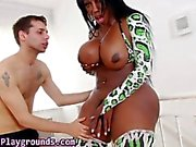 Black busty shemale babe sucking on a hard cock