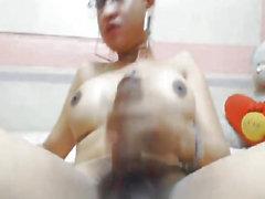 Nerdy Asian Shemale Anal Masturbation