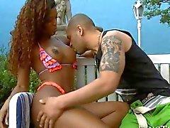 Ebony darling gagging on a dick