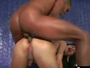 Horny brunette tranny gets her ass banged by a balck cock