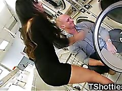 Shemale Teen Gets Cum in a Laundromat!