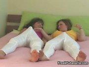 Two sexy brunette girls having