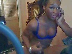 Amazing ebony ladyboy on cam