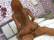 Interracial mutual bareback with redhead tranny