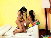Hot tranny babe getting fucked anally by a shemale