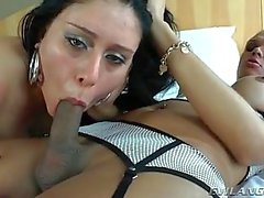 Girl pussy filled with tranny dick on top