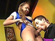 Black tranny eats a dick with eagerness