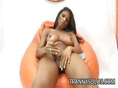 Andreia Oliveira - Horny Latina Shemale Jerking Her Dick