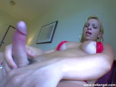 Blonde latina tgirl strips and masturbates