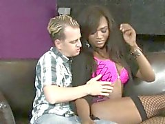 Black shemale Chanel Couture ass fucking with guy on sofa