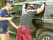 Guy drills police tranny by car