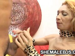 Sexy shemale gets a hot cum reward