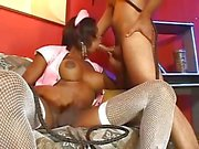 Ebony shemale nurse bonking a white chap