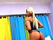 Sexy tranny Sheyna cum on big tits after her ass gets fucked