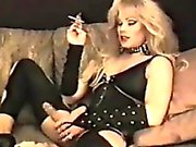Smoking Blonde Shemale