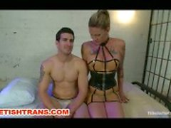 Shemale In Latex Dominates Her Guy Bound Slave