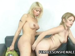Tania and Yanina: Big Tits Tranny Screwing A Pussy