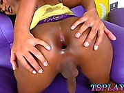 Tight dark skinned tranny Emmy masturbates her cock