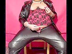 Chrissie smoking & wanking in shiny leggings pt 5