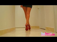 Ana Mancini in sexy red heels showing cock