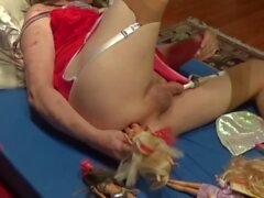 crossdresser sissy smashes dick and ass with barbi doll