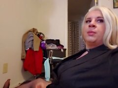 Chubby blonde very horny transgender girl is a cocksucker and masturbation cum