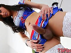 Shemale Ana Clara and guy ass fucked each other on turns