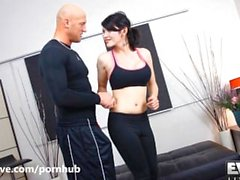 Transsexual Eva Lin gets her ass pumped by her trainer