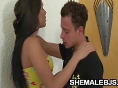 Kalena Rios Beautiful Shemale Sucking A Hard Cock
