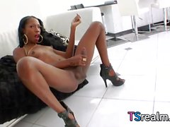 Ebony Shemale Tameka Strokes Her Big Black Cock