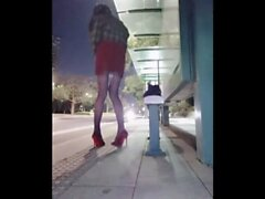 Asian Ladyboy getting crazy on the streets fully public nudity flashing it