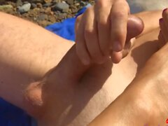 Outdoors beach masturbation blowjob wank and a big cumshot blonde shemale slut