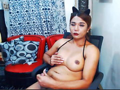 Pretty Ladyboy With Nice Tits Play Her Cock