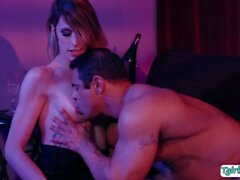 Busty Tgirl escort licked and ass fucked by client in VIP room