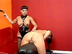 Tranny S&M mistress leads cute chick around on leash in dungeon