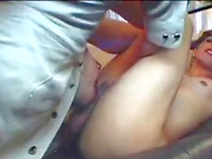 Hot real doll joins in a short-haired t-girl fellating hairy straight guy