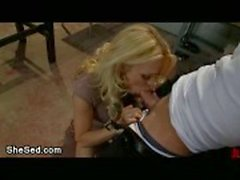 Blond transsexual goddess fucks guy