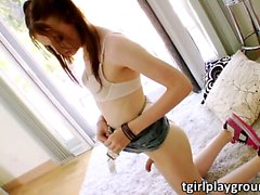 TS Kitty Kaiti jerks off until she cums
