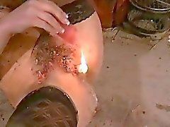 Kinky Crystels hot wax punishment and self torture