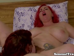 Redhead tgirl jerks while anally fingered