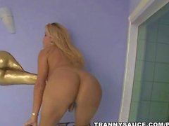 sexy blonde tranny hottie tugging on her hard cock