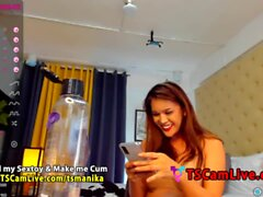 Perfect Hot Big Cock TBabe TSManika on Webcam Part 3