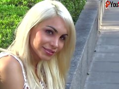 Sexy tranny Angeles Cid walks and flashes