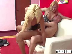 Attractive shemales Sharon and Sheyna share one hard cock