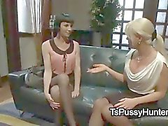 Busty blonde tranny ties and fucks pale brunette in bed