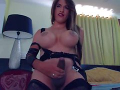 Laura Sofia pumps her thick shaft and shoots a huge load