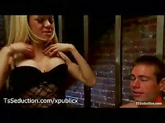 Tranny in stockings has a slave guy