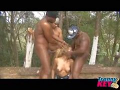 Interracial gangbang outdoors